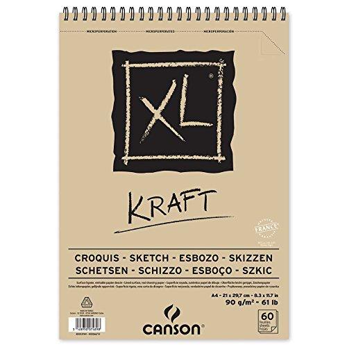 Canson 400039141 XL Kraft gerippt Skizzenblock, 90 g/qm, 60 Blatt pro Block