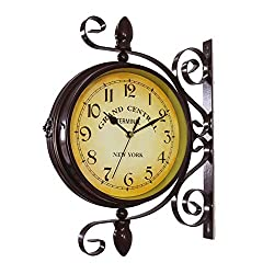 Radio Controlled Wall Clock Kitchen Clocks 37cm for Office School Kids Room - Classical Fashion Double-Sided Clocks, Cafe Decoration Bar