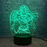 Death Note Ryuuku Action Figures 3D Illusion Table Lamp 7 Color Changing Mood Night Light USB Cable Touch Remote Control Base Boys Child Kids Baby Teen Room Decor