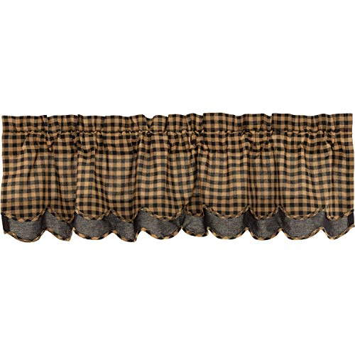 VHC Brands Black Check Scalloped Layered Valance 16x60 Country Curtain, Black and Tan