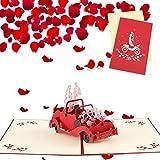 Sethexy 3D Tarjetas De Felicitación De Boda con sobres Surgir Invitaciones de boda blanco Autos clásicos Tarjeta de aniversario Regalo de bodas para esposa Marido Invitados de boda