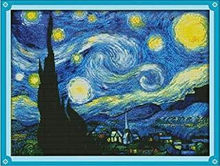 Joy Sunday Cross Stitch Kits Classical Scenery Style Cross-Stitch Sets (Starry Night of Van Gogh 14CT Counted)