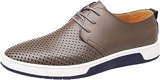 Yellsong-Shoes - Zapatos de Piel para Hombre, Transpirables, Puntera Redonda, con Cordones, para Hombre