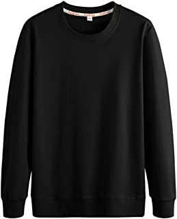 Mens Classic Pullover Sweatshirts Long Sleeve Jumpers Solid Tops