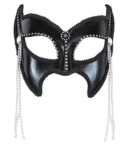 Widmann 03627–Maske Domino Gran Gala Sadomaso mit Strass und Perlen, Einheitsgröße