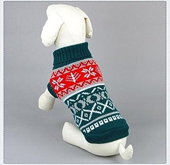 Tineer Manteau de Tricot de Flocon de Neige de Chien d'animal familier, Chiot Chat Pull-Overs Sweater Jacket Hiver Noël vêtements Chauds (M, Vert)
