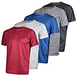 Men's Quick Dry Fit Dri-Fit Short Sleeve Active Wear Training Athletic Essentials Crew T-Shirt Fitness Gym Wicking Tee Workout Casual Sports Running Undershirt Top - 5 Pack,Set 2-L