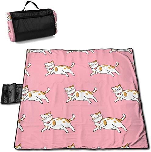 N/A Große wasserdichte Picknickdecke für den Außenbereich, Drache, Orange, Katze, Pink, Sanddicht, Strandmatte für Camping, Wandern, Gras und Reisen