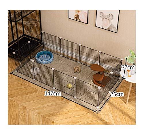 GBY Haustierzaun, Haustierzaun aus Metall, faltbares Zaungeländer, geeignet für kleine Hunde und Katzen, schwarz, 147 * 75 * 37 cm