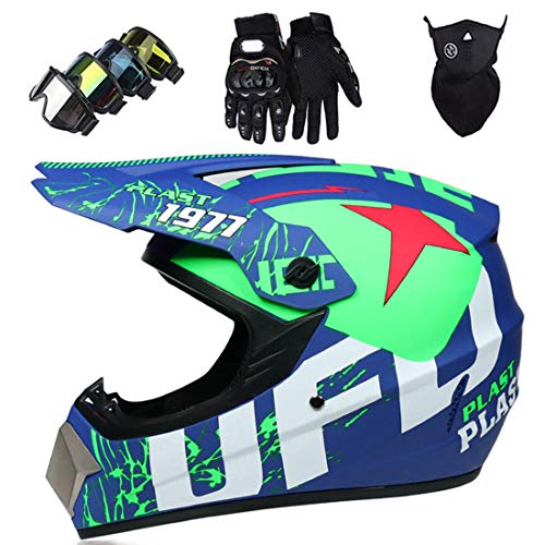 Full Face MTB Helmet with Goggles Mask Gloves, Adult Motocross Crash Helmet for ATV Off-Road Motorcycle DH Enduro Dirt Bikes Scooter Racing, DOT Certified