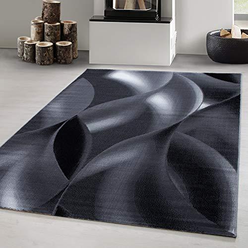 Teppich Designer Modern Kurzflor Abstrakt Wellen Muster Schwarz Grau Weiß Oeko Tex, Maße:200x290 cm