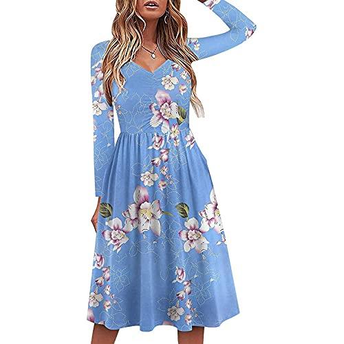 Dasongff Robe Automne Femme Bohème à Manche Longues Robe Femme Mi Longue Pas Cher Robe de Soirée Chic et Glamour Imprimé Floral Mini Robe Col V Dames Grande Taille