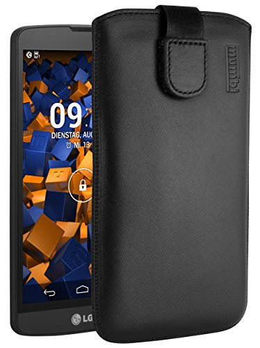 mumbi Echt Ledertasche kompatibel mit LG L Bello Hülle Leder Tasche Hülle Wallet, schwarz