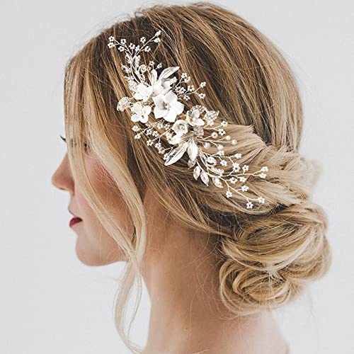 Bridal Hair Comb, Wekin Wedding Hair Comb Wedding Hair Accessories for Brides, Handmade Floral Hair...