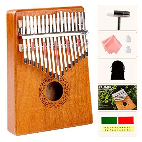 Kalimba, Kalimba Thumb Piano Kalimba 17 Key, Kalimba with Tune Hammer and Study Instruction, Portable Mbira Finger Piano, Kalimba Thumb Piano, Handmade with Mahogany and Ore Steel Bars