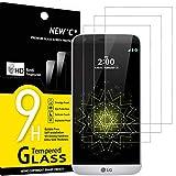 NEW'C 3 Unidades, Protector de Pantalla para LG G5, Antiarañazos, Antihuellas, Sin Burbujas, Dureza 9H, 0.33 mm Ultra Transparente, Vidrio Templado Ultra Resistente