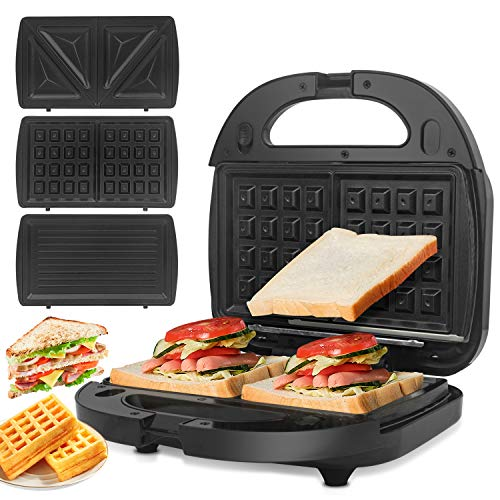 ORFELD Sandwich Maker, Sandwich Panini Grill, 750-Watts, 3-in-1 Detachable Non-stick Coating, LED Indicator Lights