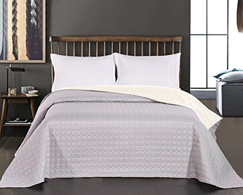 DecoKing Premium 11799 Tagesdecke 170 x 210 cm Ecru Silber Bettüberwurf Kreisen zweiseitig leicht zu pflegen Salice