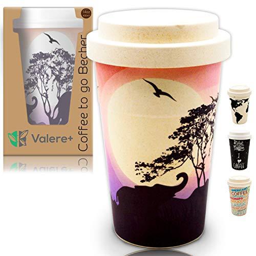 Valere + Coffee to go Bambus-Becher mit Schraubdeckel | Mehrweg| lebensmittelecht | spülmaschinenfest | Verschluss