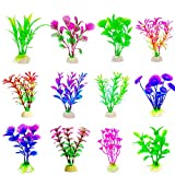 CousDUoBe 12 Pack Artificial Aquarium Plants, Fish Tank Decorations Home Décor(4.5 to 5 inches Tall)
