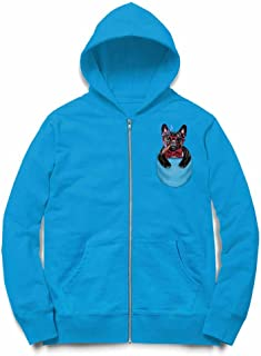 Fox Republic ブルドッグ 蝶ネクタイ たばこ ポケット 犬 オーシャンブルー キッズ パーカー シッパー スウェット トレーナー 150cm
