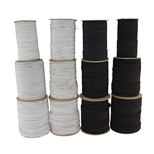 SGT KNOTS Polypro Bungee Shock Cord - Lightweight Elastic Rope for Crafting, Industrial & DIY Projects (1/8' x 100ft Coil, Black)