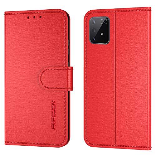 FMPCUON Handyhülle Kompatibel mit Samsung Galaxy Note 10 lite/A81(Neueste),Premium Leder Flip Schutzhülle Tasche Hülle Brieftasche Etui Hülle für Galaxy Note 10 lite/A81 6,7 Zoll,Rot