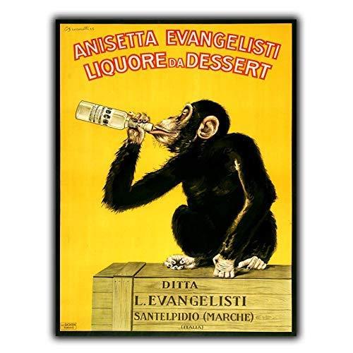 Placa de metal para garaje de 20,3 x 30,4 cm, diseño de chimpancé de licor italiano de Anisetta Evangelisti, para pub de cerveza, hogar, jardín, comedor, tienda, vintage
