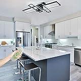 IKK Modern Ceiling Light, LED Chandelier Light Fixture with Dimmable Remote Control, 4 Heads Black Rectangular Shade Modern Light Fixture for Kitchen, Bedroom, Dressing Room, Living Room, Dining Room