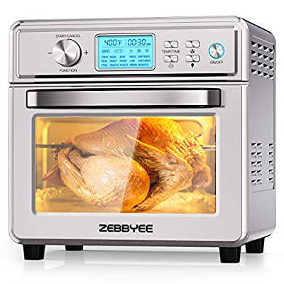 Zebbyee Convection Oven, 22.2QT Air Fryer Oven, 16-in-1 Toaster Oven Airfryer Combo, 1700W Stainless Steel Pizza Oven with Temperature Control, Thawing, Defrost, Dehydrate, 5 Accessories. ETL Certified