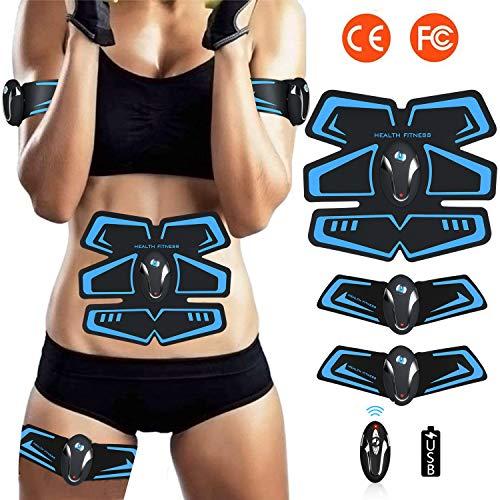 ZHENROG Electrostimulateur Musculaire Entraînement Abdominal/Cuisse/Bras Muscle EMS Forme d'exercice Fitness,Ceinture Abdominale Electrostimulation USB Charge,avec la Télécommande
