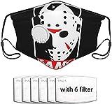 Jason Voorhees - Funda para el polvo con un cojinete de válvula portátil, filtro unisex, pañuelo para la cabeza, bufanda, pasamontañas