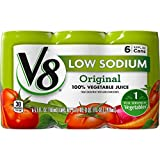 V8 Juice, Low Sodium 100% Vegetable Juice, Plant-Based Low Sodium Drink, 5.5 Ounce Can, 6 Count (Pack of 8)