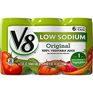 V8 Low Sodium 100% Vegetable Juice, 5.5 oz. Can (8 packs of 6, Total of 48) |