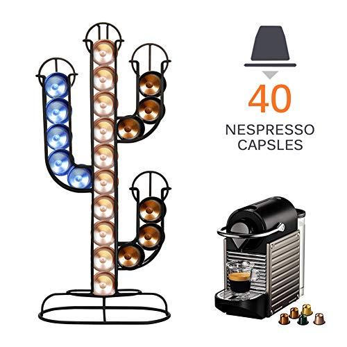 CCHM 40 Kaffeekapselständer Pod Halter Edelstahl-Kapseln Mit Rack Stikken drehendem Standplatz Regallager,Schwarz