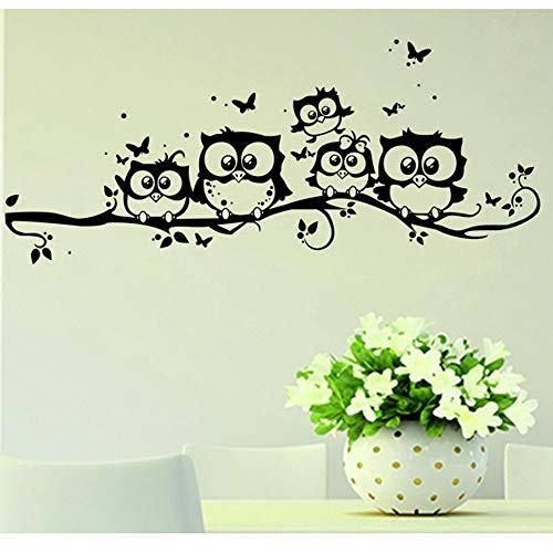 SoulSpaze - Adesivo da parete con albero, animali da camera da letto, gufo, farfalle, decorazione per la casa e il soggiorno