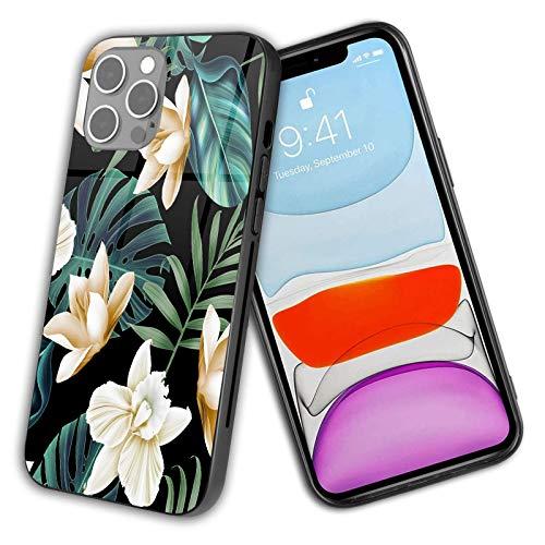 Compatible con iPhone 12 Pro Max 2020 funda de vidrio, flor tropical, protección a prueba de golpes