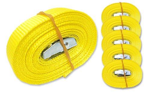 MGS SHOP 6 Spanngurte Zurrgurte 250 Kg 4 m mit Klemmschloss Schnellspannung Farbe wählbar (gelb)