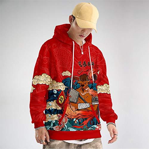 AFASSW Unisex pullover huvtröja långärmad tröjor, kinesiskt element kinesisk karaktär illustration röd 12 zodiak oxe cool hip-hop mode rolig ful plusstorlek för nyårsklänning, företagsfest, M