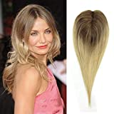 RemeeHi Remy Human Hair On Mono Clip in Topper Middle Part Straight Customize Color 65g Hair Closure Invisiable Hiarpieces 16 inch Ombre T4/613# Light Blonde