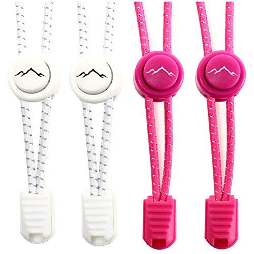 gipfelsport Elastische Schnürsenkel mit Schnellverschluss - Gummi Schnellschnürsystem ohne Binden | Schnürsystem für Kinder, Herren, Damen I 2X Paar: weiß/pink
