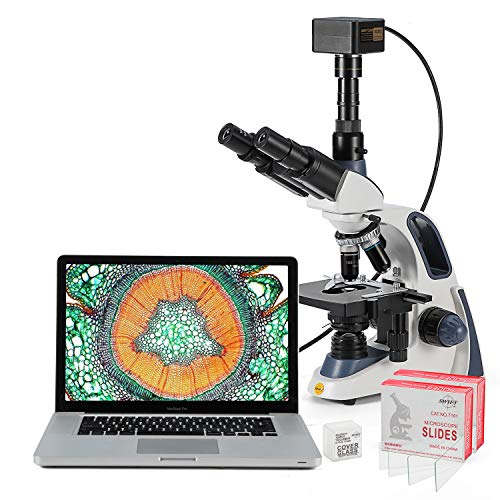 Swift Compound Trinocular Microscope SW380T,40X-2500X Magnification,Siedentopf Head,Two-Layer Mechanical Stage,with Swiftcam 18 Megapixel Camera and 100 PCS Blank Slides and Cover Slips