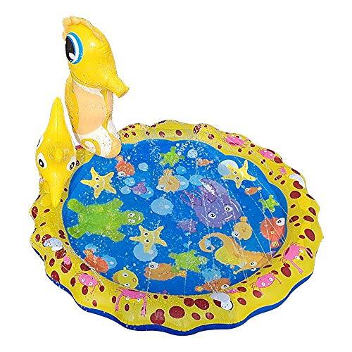 Lzcaure Alfombrilla de rociador para niños, diseño de hipocampo tridimensional para niños, juguete de agua al aire libre (color: amarillo, tamaño: 96 x 96 cm)