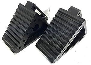 "MaxxHaul 2 pack 70472 Solid Rubber Heavy Duty Black Wheel Chock, 8"" Long x 4"" Wide x 6"" high-2 Pack, 2 pack"