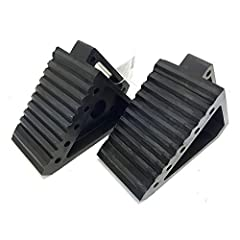 Approximate size: 8 inch length x 4 inch width x 5 inch height Features all weather construction and a rubber traction pad that make them the perfect choice to keep your vehicle or trailer secure in any climate. Includes built-in handle for easy plac...