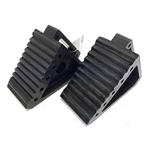 "MaxxHaul 2 pack 70472 Solid Rubber Heavy Duty Black Wheel Chock, 8"" Long x 4"" Wide x 6"" high-2 Pack, 2 pack"
