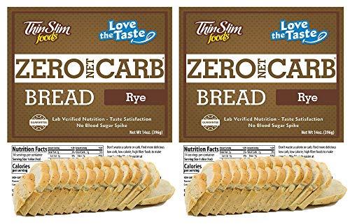ThinSlim Foods Zero Net Carb Keto Bread   Low Carb Bread   Keto Friendly Food - Rye, 14oz. (Pack of 2)