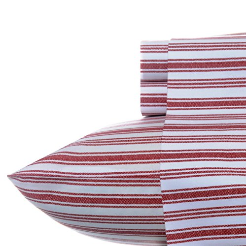 Nautica - Percale Collection - Bed Sheet Set - 100% Cotton, Crisp & Cool, Lightweight & Moisture-Wicking Bedding, Twin, Coleridge Red