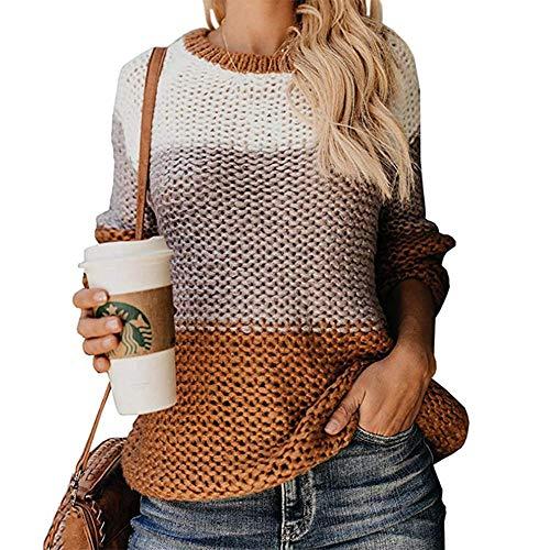 ADXD Gebreide trui voor dames, modieus, O-hals, lange mouwen, vintage, geweven, vrije tijd, kleurblok, warm zacht, eenvoudig op te brengen