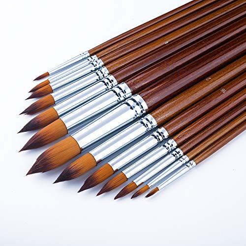 Pincel de Artista-Set de 13pcs Punta Redonda Punta Pincel de Pintura Pelo de nylon, mango, pincel para principiantes largos del círculo